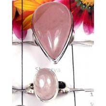 W2RQT996-250 gm-Elegant Rose Quartz Gemstone 925 Silver Rings