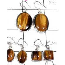 W2TE998-250 gm-Plain Silve Tiger Eye Wholesale Earrings