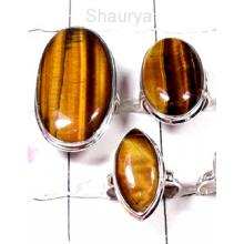 W2TE999-250 gm-925 Sterling Silver Tiger Eye Rings