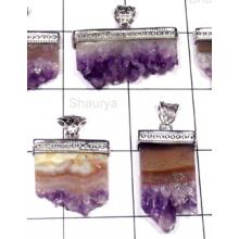 W2WDP995-250 gm-Wholesale Silver Stalagtite​s Drusy  Pendants