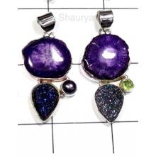 W2WDP996-250 gm-Multi Drusy With Cut & Cab Gemstone Pendants