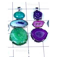 W2WDP997-50 Pcs-  Wholesale silver Multi Druzy Gemstone Pendants