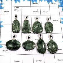 WBG850-8 Pcs Natural Seraphinite Gemstone Handmade Huge Pendants 925 Sterling Silver