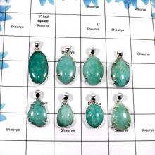 WBG851-8 Pcs Beautiful Gemstone Amazonite Fashionable Wholesale Pendants 925 Sterling Silver