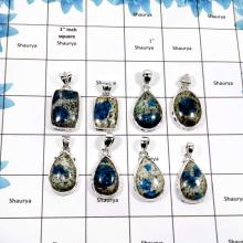 WBG853-8 Pcs K2 Jasper Wholesale Plain Setting Pendants 925 Sterling Silver