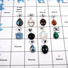 WBG868-10 Pcs Natural Mix Cab Gemstones Light Weight Bezel Pendants 925 Sterling Silver