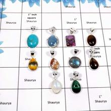 WBG869-10 Pcs Fabulous Mix Cab Colorful Gemstones Bezel Pendants 925 Sterling Silver