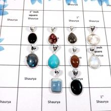 WBG870-10 Pcs Beautiful Mix Cab Gemstones Wholesale Bezel Pendants 925 Sterling Silver