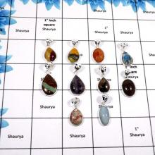 WBG872-10 Pcs Classic Mix Cab Gemstones Wholesale Bezel Pendants 925 Sterling Silver