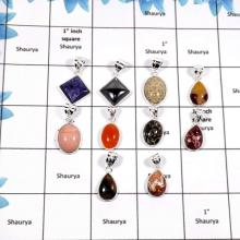WBG873-10 Pcs Mix Cab Gemstones Factory Wholesale Bezel Pendants 925 Sterling Silver