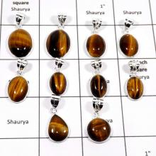 WBG884-10 Pcs Natural Tiger Eye Gemstone Handmade Bezel Pendants 925 Sterling Silver
