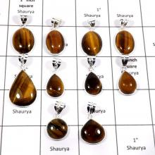 WBG885-10 Pcs Classic Tiger Eye Gemstone Wholesale Bezel Pendants 925 Sterling Silver