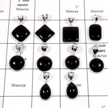 WBG887-10 Pcs Stunning Black Onyx Plain Setting Bezel Pendants 925 Sterling Silver