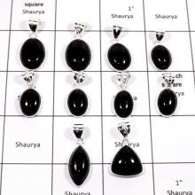 WBG888-10 Pcs Indian Wholesale Company Handmade Black Onyx Bezel Pendants 925 Sterling Silver