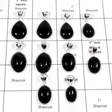 WBG889-10 Pcs Natural Black Onyx Handmade Wholesale Bezel Pendants 925 Sterling Silver