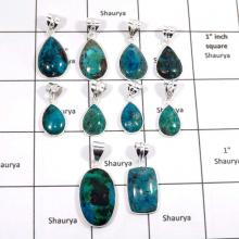 WBG899-10 Pcs Classic Wholesale Chrysoclla Gemstone Bezel Pendants 925 Sterling Silver