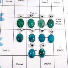 WBG901-10 Pcs Factory Wholesal Chrysocolla Gemstone Handmade Wholesale Bezel Pendants 925 Sterling Silver