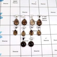 WBG905-10 Pcs Indian Company Wholesale Smokey Cab Gemstone Bezel Pendants 925 Sterling Silver
