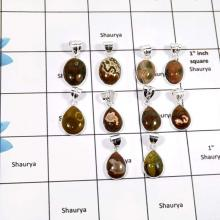 WBG907-10 Pcs Natural Gemstone Ocean Jasper Gemstone Handmade Wholesale Bezel Pendants 925 Sterling Silver