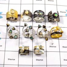 WBG917-10 Pcs Exclusive Gemstone Ethiopian Opal Designer Wholesale Rings 925 Sterling Silver