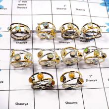WBG919-10 Pcs Elegant Gemstone Ethiopian Opal Black Rhodium & Gold Plating Wholesale Rings 925 Sterling Silver