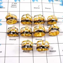 WBG921-10 Pcs Adorable Gemstone Ethiopian Opal Black Rhodium And Gold Plating Rings 925 Sterling Silver