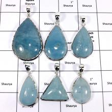 WBG941-10 Pcs 100 Grams Wholesale Lot Big Cabochon Aquamarine Gemstone Pendants 925 Sterling Silver