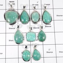 WBG946-10 Pcs 100 Grams Wholesale Lot Amazonite Gemstone Pendants 925 Sterling Silver