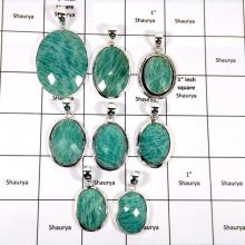 WBG947-10 Pcs 100 Grams Lot Big Amazonite Cut Gemstone Pendants 925 Sterling Silver
