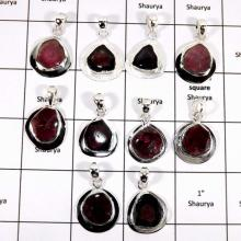 WBG949-20 To 25 Pcs 100 Grams Lot Tourmaline Slices Pendants 925 Sterling Silver