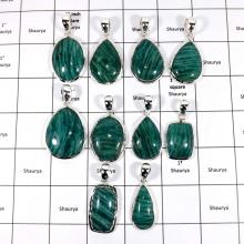 WBG952-10 Pcs 100 Grams Wholesale Lot Big Amazonite Pendants 925 Sterling Silver