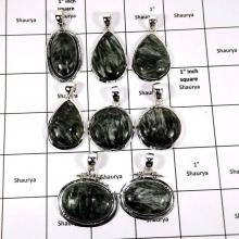 WBG955-10 Pcs 100 Grams Wholesale Lot Seraphinite Gemstone Pendants 925 Sterling Silver