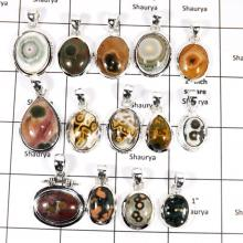 WBG957-15 To 20 Pcs 100 Grams Wholesale Lot Ocean Jasper Gemstone Pendants 925 Sterling Silver