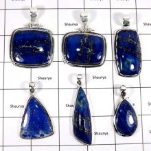 WBG958-10 Pcs 100 Grams Lot Big Lapis Lazuli Gemstone Wholesale Pendants 925 Sterling Silver