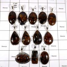 WBG961-10 Pcs 100 Grams Wholesale Lot Cabochon Pietersite Gemstone Pendants 925 Sterling Silver