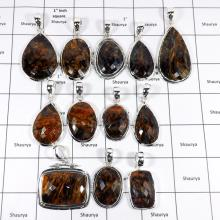 WBG962-10 Pcs 100 Grams Wholesale Lot Checker Cut Pietersite Gemstone Pendants 925 Sterling Silver