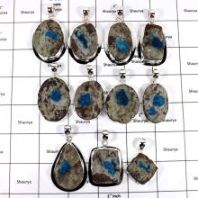 WBG963-10 Pcs 100 Grams Wholesale Lot Big Cavansite Druzy Pendants 925 Sterling Silver