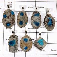 WBG964-10 Pcs 100 Grams Wholesale Lot Genuine Cavansite Druzy Pendants 925 Sterling Silver