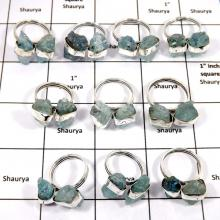 WBG975-10 Pcs 100 Grams Wholesale Lot Aquamarine Rough Rings 925 Sterling Silver