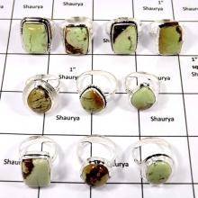 WBG980-10 Pcs 100 Grams Rings Lot Lemon Crysophrae Gemstone 925 Sterling Silver