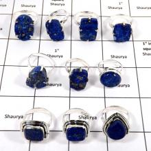 WBG985-10 Pcs 100 Grams Rings Wholesale Lot Natural Lapis Drusy 925 Sterling Silver