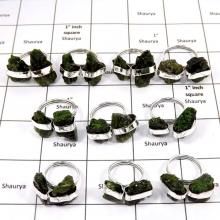 WBG986-10 Pcs 100 Grams Rings Lot Chrome Diopside Rough Rings 925 Sterling Silver