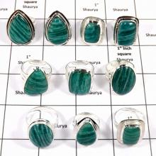 WBG988-10 Pcs 100 Grams Lot Ring Big Amazonite Gemstone Rings 925 Sterling Silver