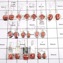 WBG992-12 To 15 Pairs Earrings 100 Grams Lot Rhodochrosite Gemstone 925 Sterling Silver