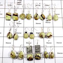 WBG995-10 Pairs 100 Grams Lot Lemon Crysophrase Gemstone Earrings 925 Sterling Silver