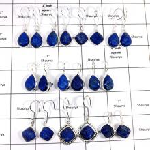 WBG997-10 To 15 Pairs 100 Grams Lot Lapis Druzy 925 Sterling Silver Earrings Wholesale Lot