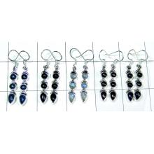 Semiprecious wholesale 5 Pair gems Earrings-jye052