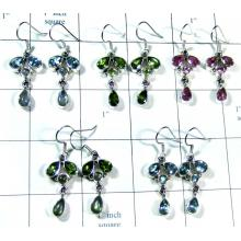 Silver gemstone 5 Pair Earrings-jye182