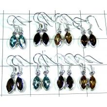 8 Pair Marquis silver gems Earrings-jye187