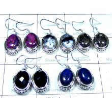 5 Prs Sterling silver gems Earrings - jye199